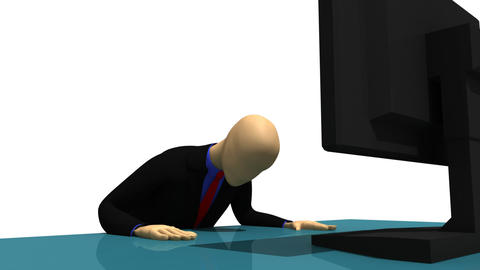 Animation presenting 3d man sitting in front of a  Footage