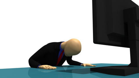 Animation presenting 3d man sitting in front of a Stock Video Footage