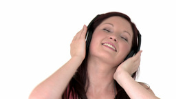 Attractive girl listening to music Footage