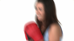 Determined asian woman with boxing gloves Footage