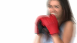 Motivated asian woman with boxing gloves Stock Video Footage
