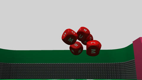 Several rolling red dices against a casino backgro Stock Video Footage