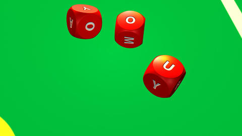 Several rolling red dices against a bright casino  Footage