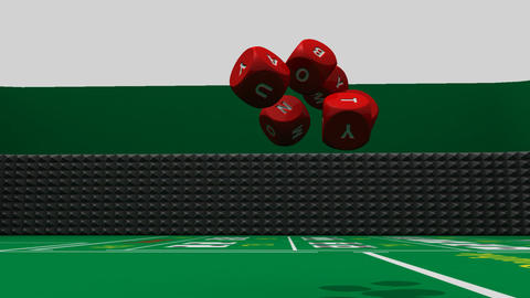 Rolling red dices against a dark casino background Stock Video Footage