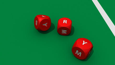Rolling red dices against a dark casino background Footage