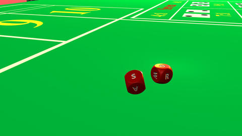 Close up of 3D rolling red dices against a casino  Footage