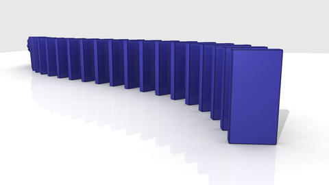3D blue dominos standing against a white backgroun Stock Video Footage