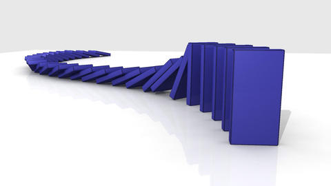 3D blue dominos standing against a white backgroun Footage