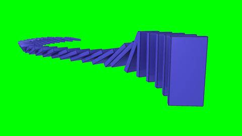 3D blue dominos standing against a green backgroun Stock Video Footage