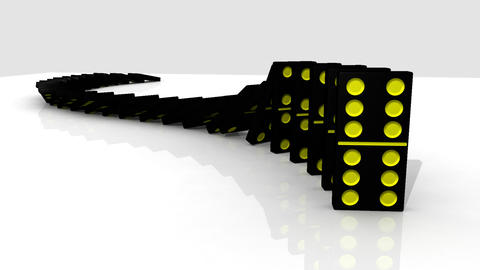 3D black dominos standing against a white backgrou Stock Video Footage