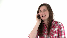 Bright woman talking on phone Stock Video Footage