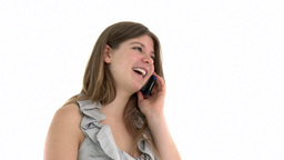 Merry young woman talking on phone Footage