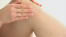 Close up showing a knee pain Footage