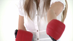 Young sportive showing boxing gloves Footage