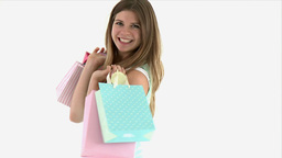 teenager turning with shopping bags Stock Video Footage