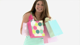teenager turning with shopping bags Footage