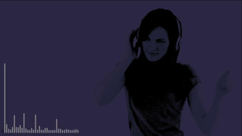 animation showing a girl dancing with headset on Animation