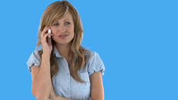 Joyful woman talking on phone Stock Video Footage