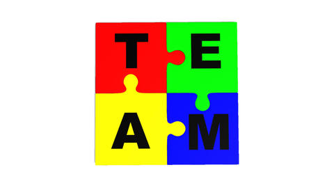 3d puzzle falling showing the word team Animation