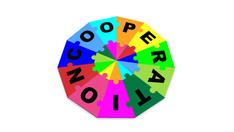 3d colourful pieces falling forming the word cooperation Animation