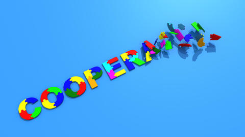 3d pieces forming the word cooperation Animation