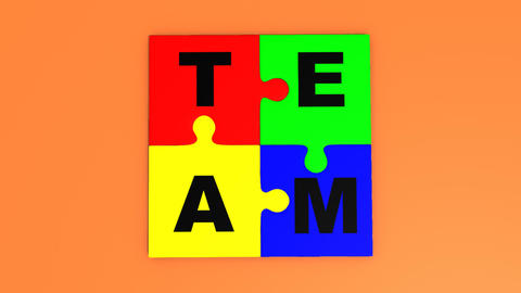 3d puzzle pieces forming the word team Stock Video Footage