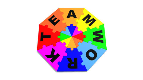 3d puzzle forming in circle the word teamwork Animation