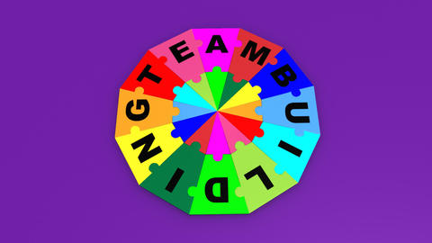 3d puzzle forming the title teambuilding Animation