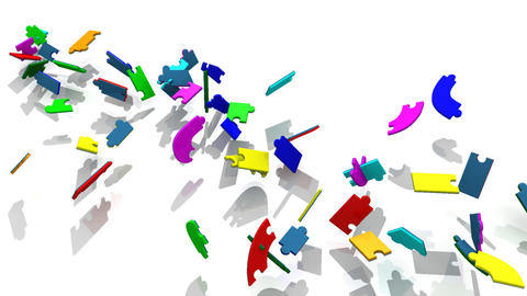 3d colourful pieces falling showing the title teambuilding Animation