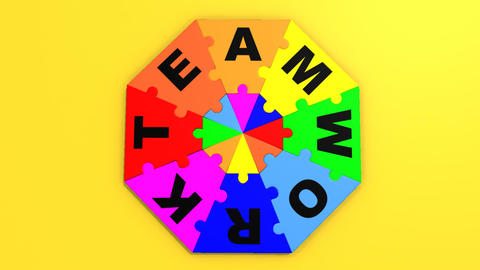 3d colourful circle puzzle showing the word teamwo Animation