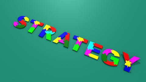 3d colourful puzzle falling forming strategy Animation