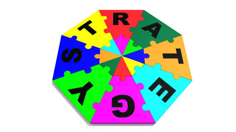 3d colourful puzzle forming in circle the word strategy Animation