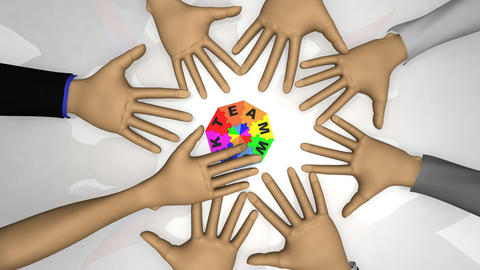 3d Business People Forming The Word Teamwork stock footage