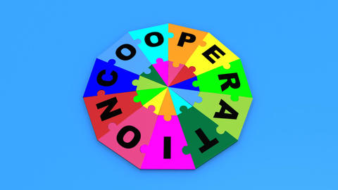 3d puzzle falling in circle showing the word coope Animation