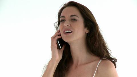 Beautiful hispanic woman talking on phone Footage