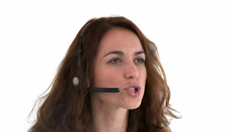 Cute hispanic businesswoman wearing headset Stock Video Footage