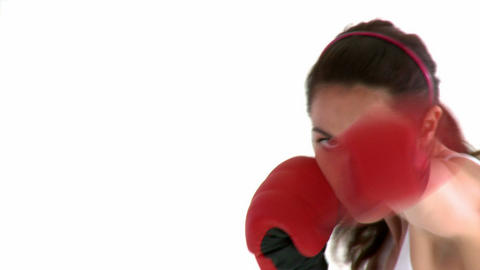 Athletic hispanic woman with boxing gloves Stock Video Footage