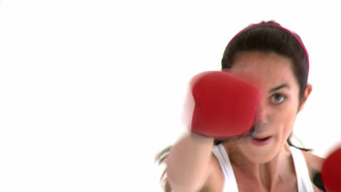 Athletic hispanic woman with boxing gloves Footage