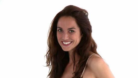 Portrait of a joyful hispanic woman posing in fron Stock Video Footage