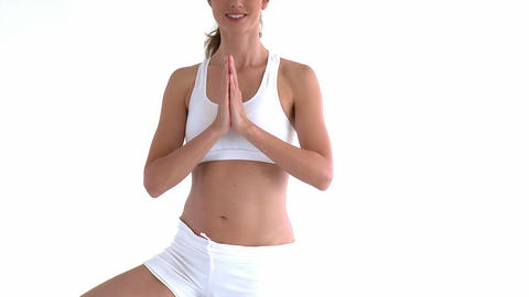 Delighted hispanic woman doing stretching Footage