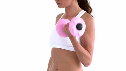 Hispanic woman working out with dumbbells Footage
