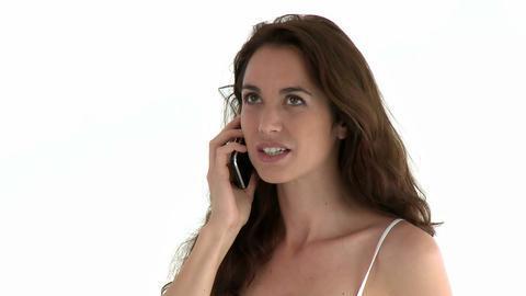 Cute hispanic woman talking on phone Footage