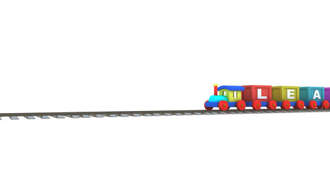 Animation Of A 3d Train Carrying Learning Letters stock footage