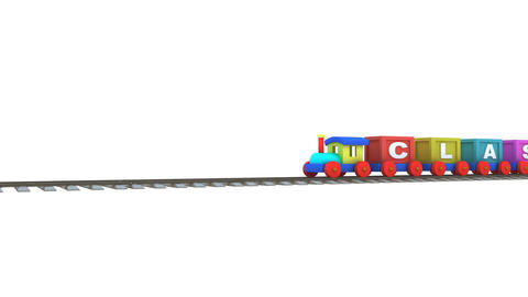 Animation of a 3d train carrying classroom letters CG動画素材