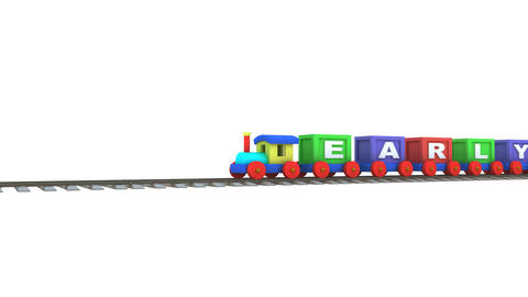Animation of a 3d train carrying early learning letters Animation