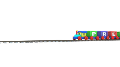 Animation of a 3d train carrying preschool and edu Stock Video Footage