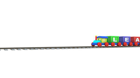 Animation of a 3d train carrying leadership letters Animation