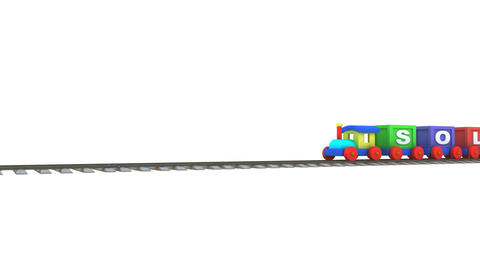 Animation of a 3d train carrying solution letters Animation