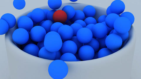 3d animation of balls falling down into a cup Animation