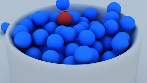 3d animation of balls falling down into a cup Stock Video Footage